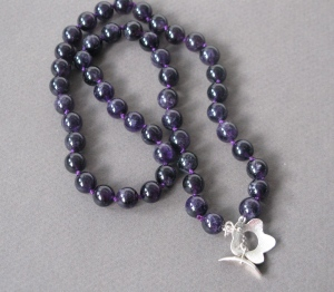 Necklace. Amethyst round beads and Sterling Silver clasp  part of  my 'Fleur' Collection