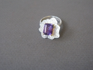 Ring with Amethyst set on 9ct yellow gold setting, and Sterling Silver. Part of my ' Urchin' Collection.
